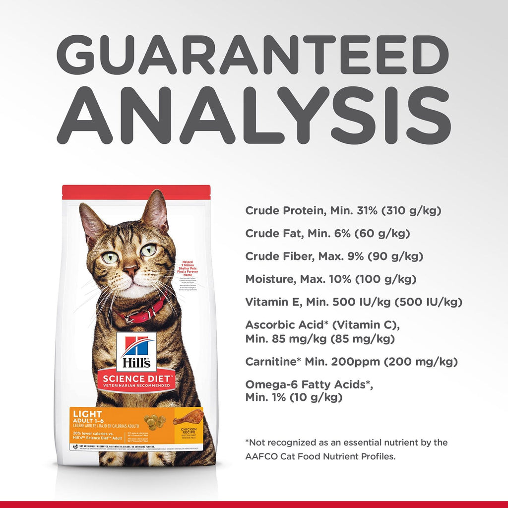 Hill's Adult Cat (1-6) Light Dry Cat Food Chicken Recipe Guaranteed Analysis