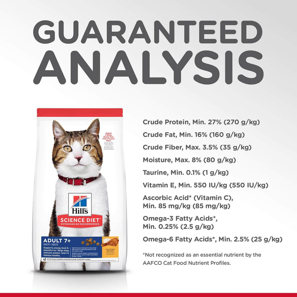 Hill's Adult Cat (7+) Dry Cat Food Chicken Recipe Guaranteed Analysis