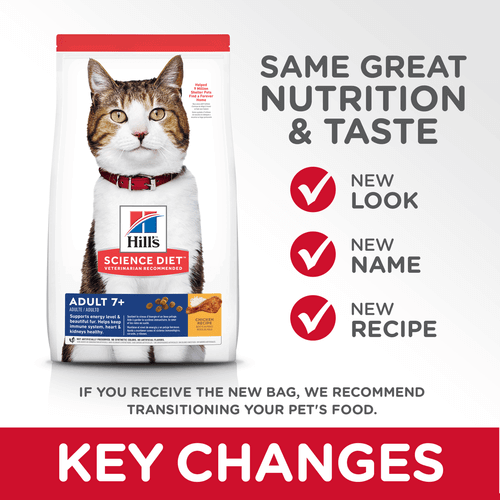 Hill's Adult Cat (7+) Dry Cat Food Chicken Recipe Key Changes