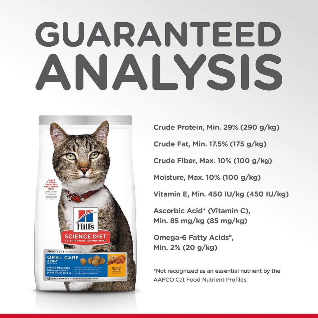 Hill's Adult Cat Oral Care Cat Dry Food Chicken Recipe Guaranteed Analysis