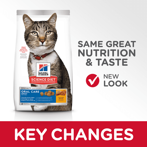Hill's Adult Cat Oral Care Cat Dry Food Chicken Recipe Key Changes