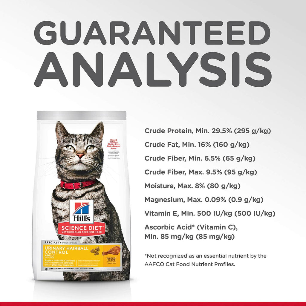 Hill's Adult Cat Urinary Hairball Control Dry Cat Food Chicken Recipe Guaranteed Analysis