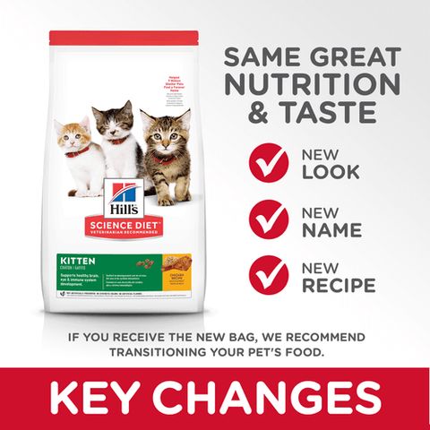 Image of Hill's Kitten Dry Cat Food Chicken Recipe Key Changes