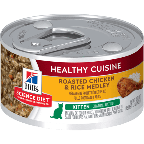 Hill's Kitten Trays Healthy Cuisine Roasted Chicken & Rice Medley Key Changes