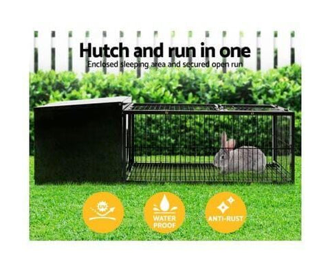Image of I.Pet Medium Metal Rabbit Hutch - Black