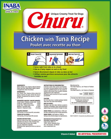 Image of Inaba-Churu-8p-Chicken-with-Tuna-Recipe-Dog-Treat- Low-Calorie-High-Value-Reward-Treat
