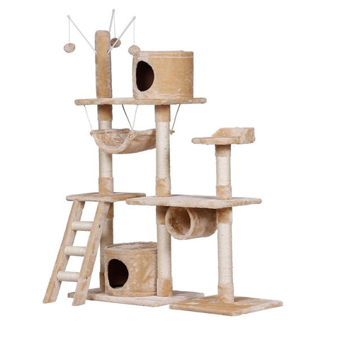 Image of Innovative Cat Scratching Post Multi Level Cat Tower Entertaining Kitty Cat Tree Playground