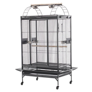 Lacework Bird Cage on Wheels Made of Wrought Iron and Black Vein Everyday Pets