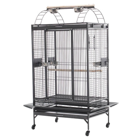 Image of Lacework Bird Cage on Wheels Made of Wrought Iron and Black Vein Everyday Pets