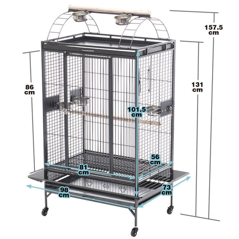 Image of Lacework Bird Cage on Wheels Product Dimension Everyday Pets