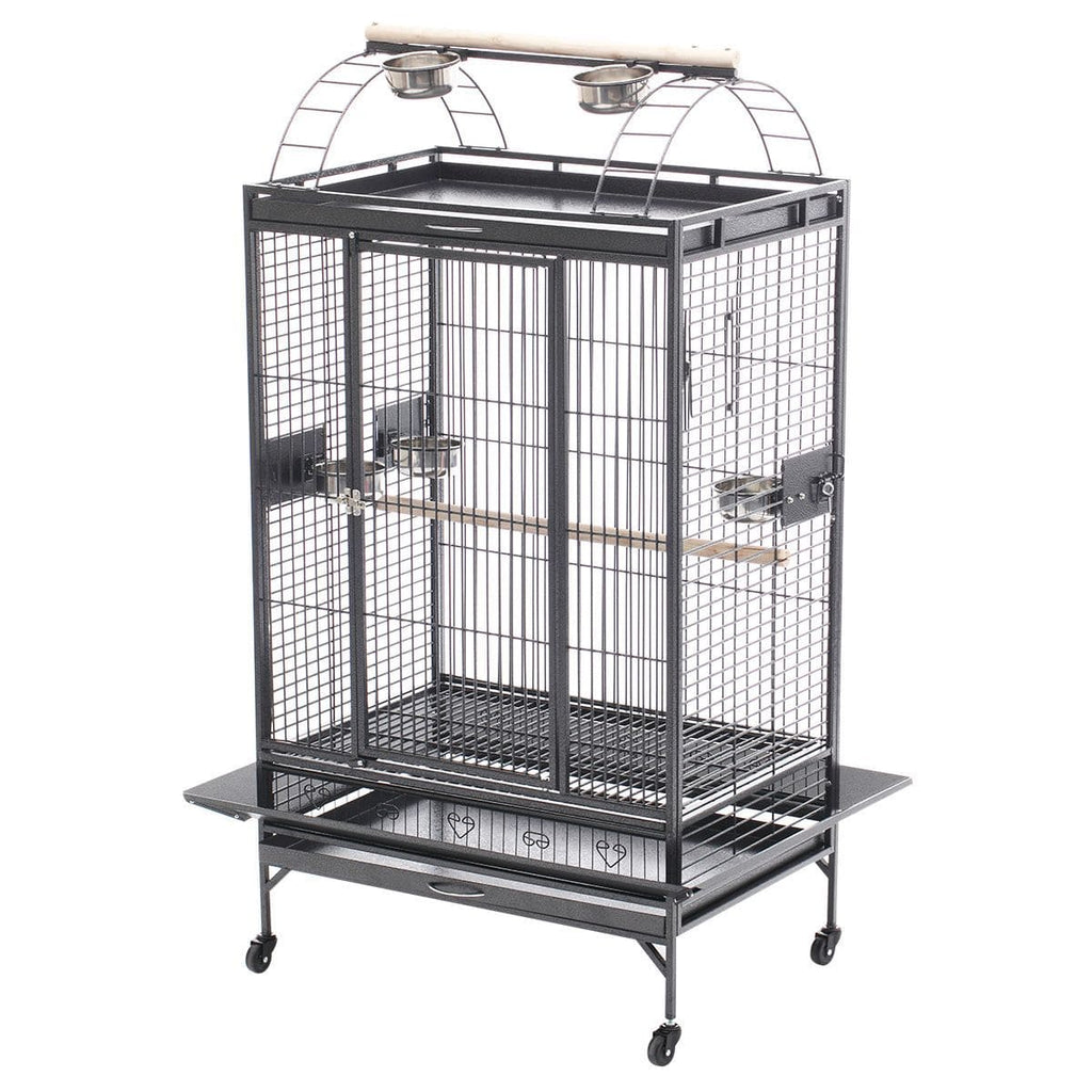Lacework Bird Cage on Wheels Elegant Wrought Iron Bird Cage Ideal for Medium Sized Birds Everyday Pets