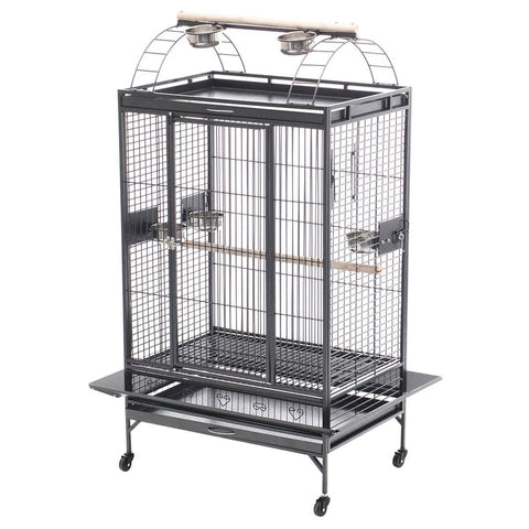 Image of Lacework Bird Cage on Wheels Elegant Wrought Iron Bird Cage Ideal for Medium Sized Birds Everyday Pets