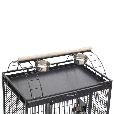 Image of Lacework Bird Cage on Wheels Sleek Elegant Arc at the Top of The Ladder or Set up station Top can Train and Play with Funny Birds Everyday Pets