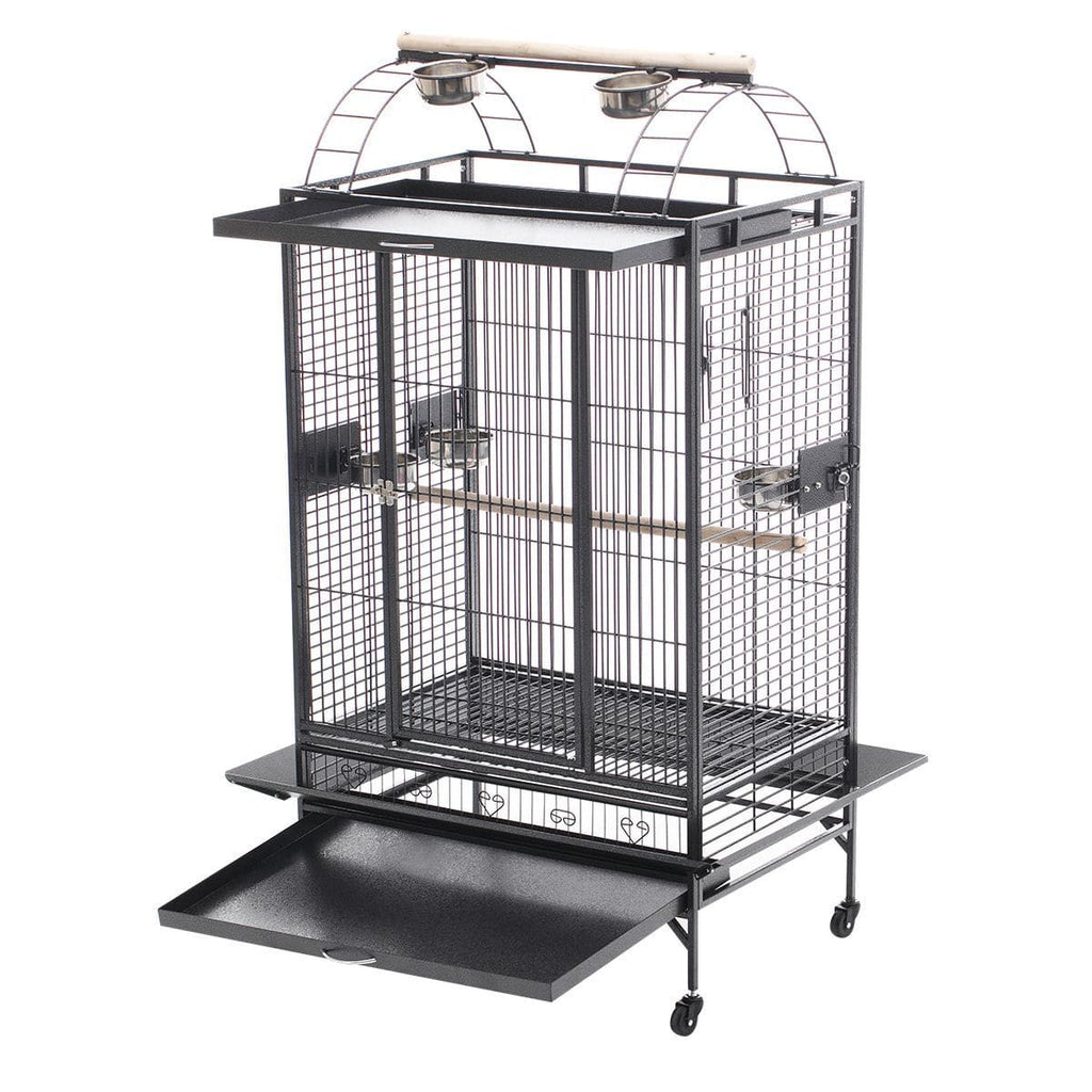 Lacework Bird Cage on Wheels Steel Slide Out Bottom Tray for Easy Cleaning Everyday Pets