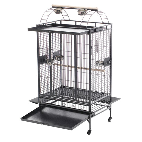 Image of Lacework Bird Cage on Wheels Steel Slide Out Bottom Tray for Easy Cleaning Everyday Pets