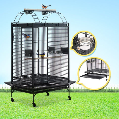 Image of Lacework Bird Cage on Wheels for Medium to Large Size Parrots - Gray Everyday Pets