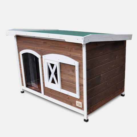 Image of Large Flat Roof Wooden Dog House Kennel Front