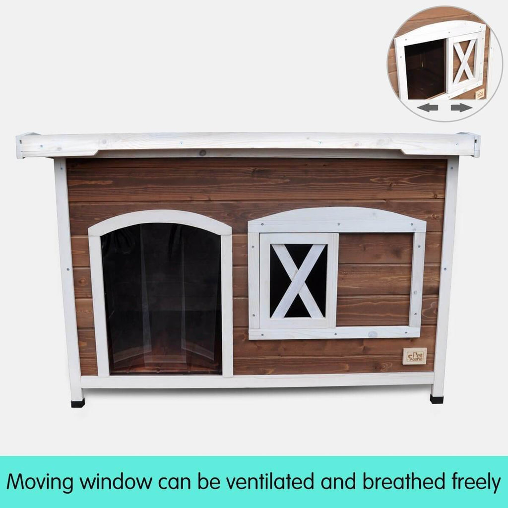 Large Flat Roof Wooden Dog House Kennel Moving Window