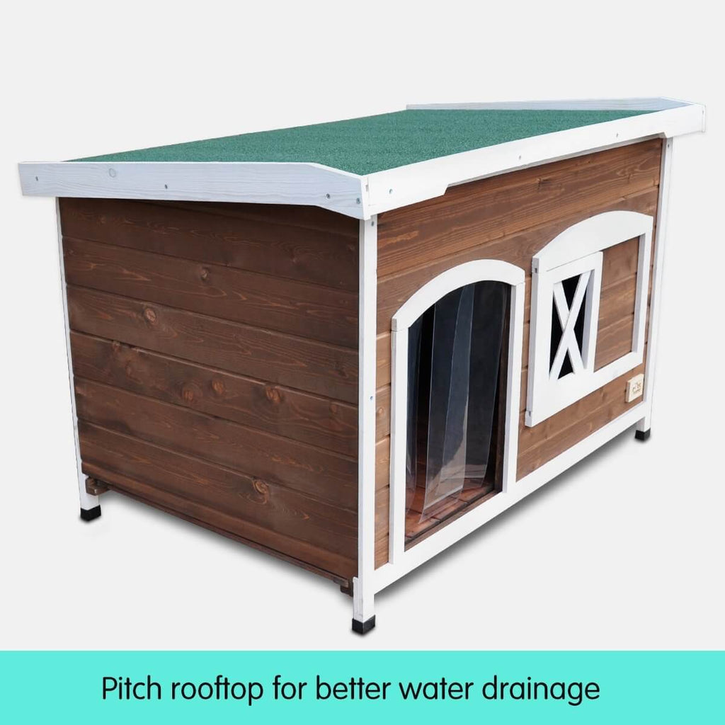 Large Flat Roof Wooden Dog House Kennel Pitch Rooftop