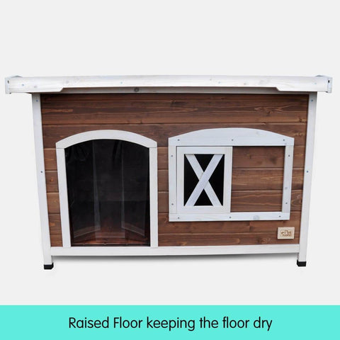 Image of Large Flat Roof Wooden Dog House Kennel Raised Floor