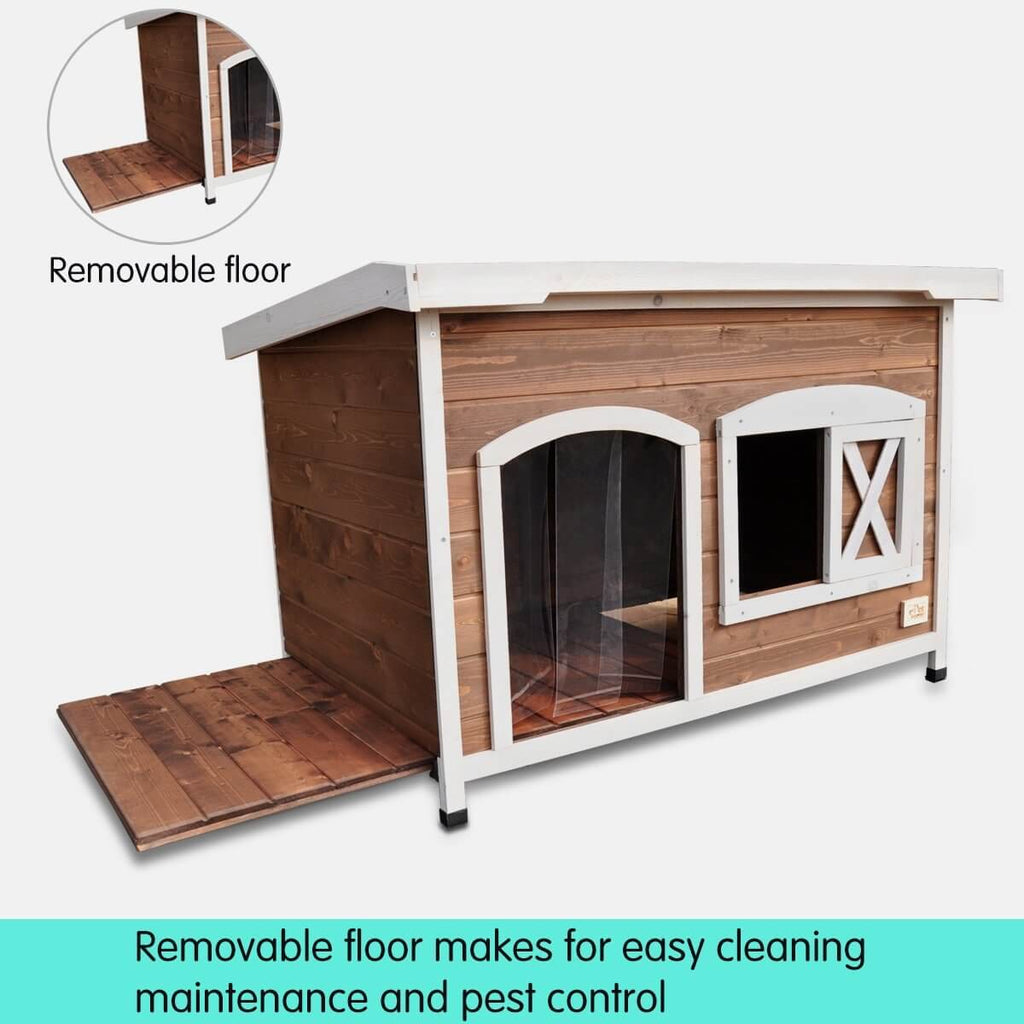 Large Flat Roof Wooden Dog House Kennel Removable Floor