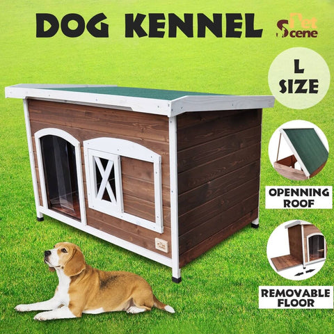 Image of Large Flat Roof Wooden Dog House Kennel
