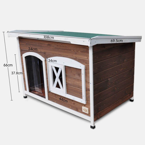 Image of Large Flat Roof Wooden Dog House Kennel with Measurement