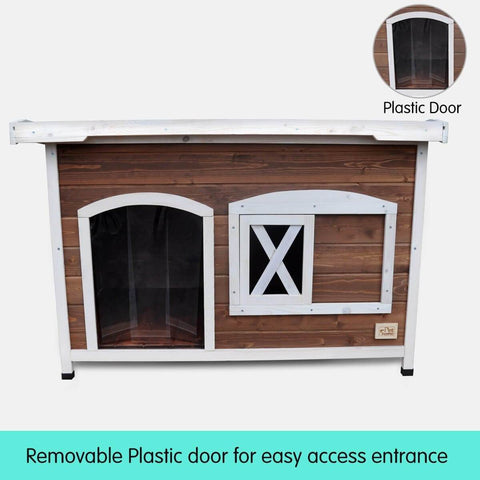 Image of Large Flat Roof Wooden Dog House Kennel with Removable Plastic Door