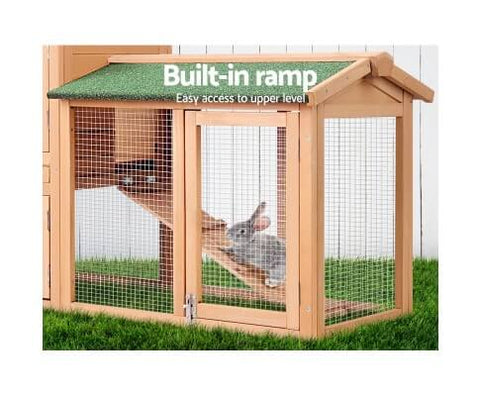 Image of Large Hutch  Pet Rabbit Ferret Guinea Pig Ferret House with Built-in Foldable Ramp