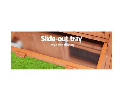Image of Large Hutch Wooden Rabbit Cage with Slide-out Trays