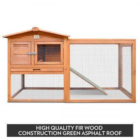 Image of Large Size Wooden Chicken Coop Rabbit Hutch Fir Wood Green Asphalt Roof Everyday Pets