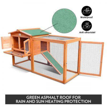 Image of Large Size Wooden Chicken Coop Rabbit Hutch Rain and Sun Heating Protection Everyday Pets