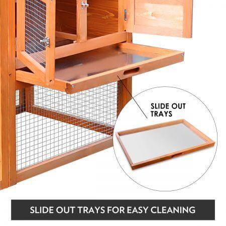Large Size Wooden Chicken Coop Rabbit Hutch Slide Out Tray Everyday Pets