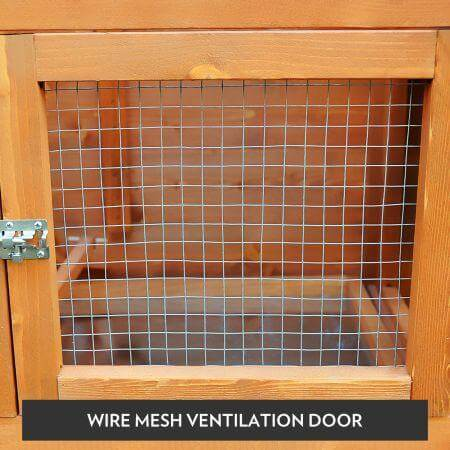Image of Large Size Wooden Chicken Coop Rabbit Hutch Wire Mesh Ventilation Door Everyday Pets