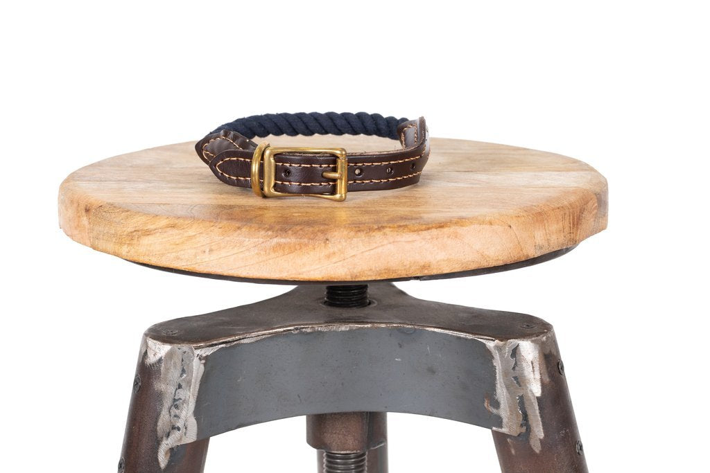 Mog & Bone Leather & Brass Rope Collar Navy