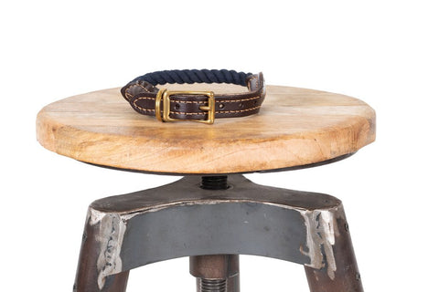 Image of Mog & Bone Leather & Brass Rope Collar Navy