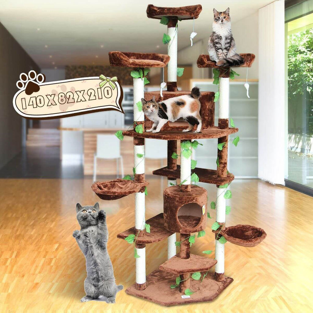 Multi-Level Cat Scratching Post Climbing Tree Brown 140 x 82 x 210cm