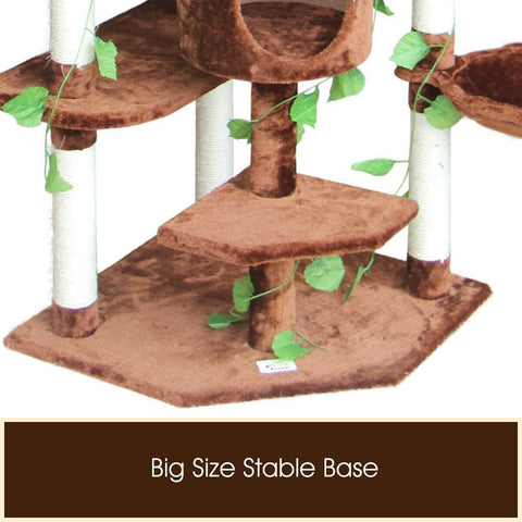 Multi-Level Cat Scratching Post Climbing Tree Brown Big Size Stable Base