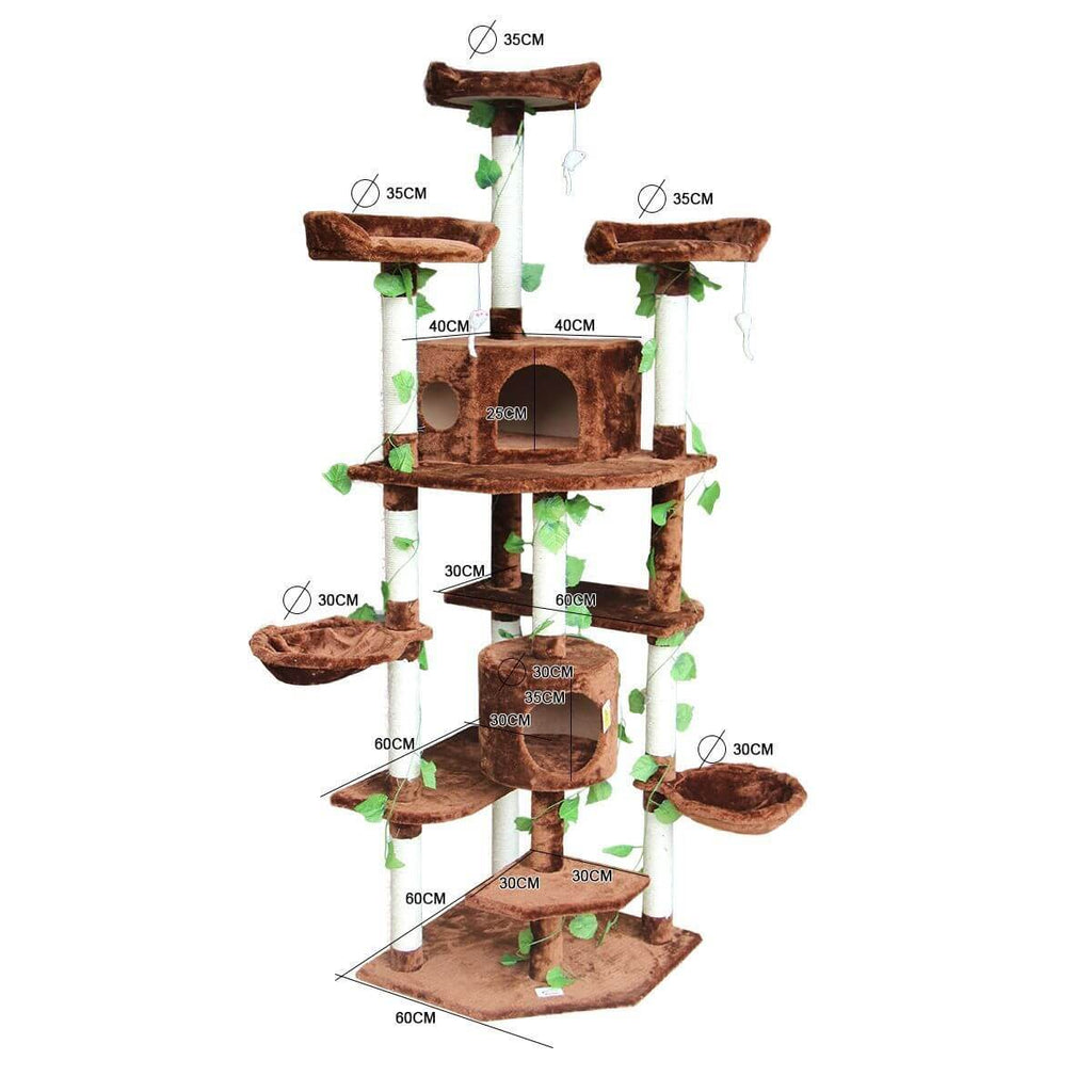 Multi-Level Cat Scratching Post Climbing Tree Brown Dimension