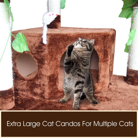 Multi-Level Cat Scratching Post Climbing Tree Brown Extra Large Candos