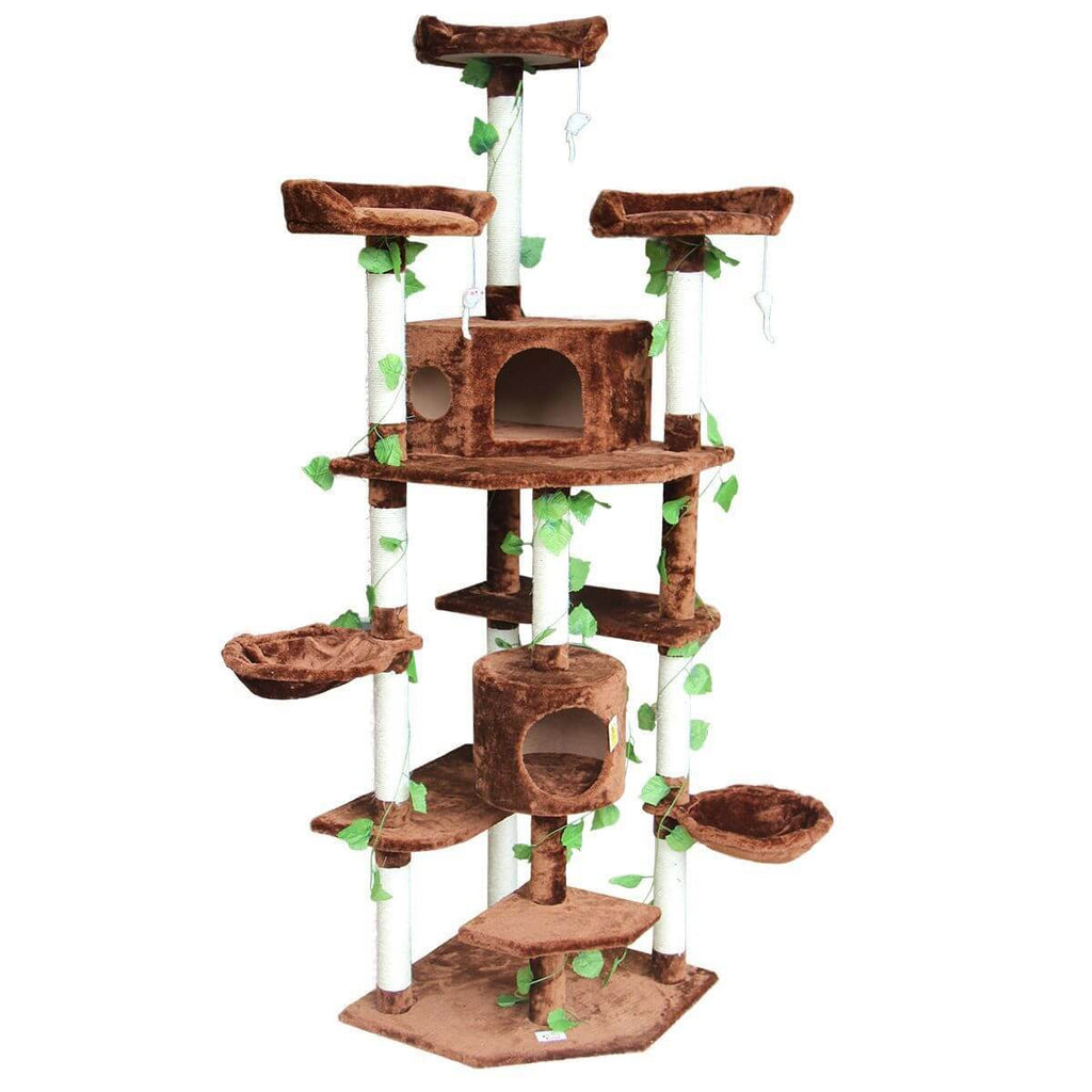 Multi-Level Cat Scratching Post Climbing Tree Brown Front