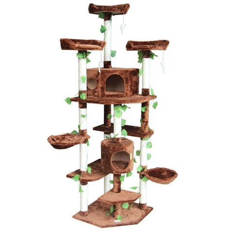 Image of Multi-Level Cat Scratching Post Climbing Tree Brown Front