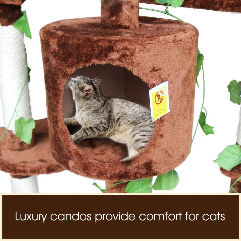 Multi-Level Cat Scratching Post Climbing Tree Brown Luxury Candos
