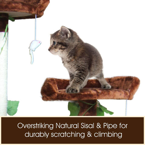Image of Multi-Level Cat Scratching Post Climbing Tree Brown Natural Sisal and Pipe