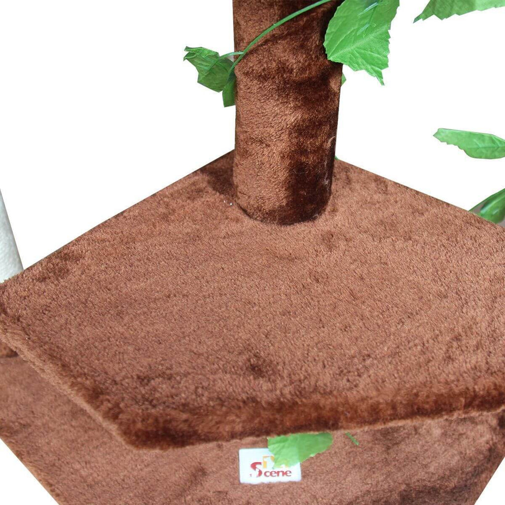 Multi-Level Cat Scratching Post Climbing Tree Brown Perch