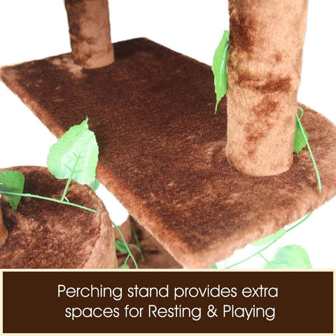 Image of Multi-Level Cat Scratching Post Climbing Tree Brown Persching Stand