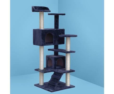 Image of Multi-Platform Cat Scratching Post w Plush Fabric Covering 134 x 50 x 50cm