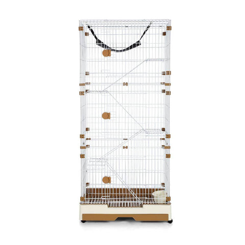Image of Multi-Layer Cat Cage Luxurious Wire Pet House Crate With Wheels - Brown