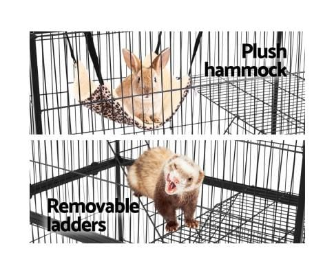 Multi-level Ferret Cage with Plush Hammock and Removable Ladders