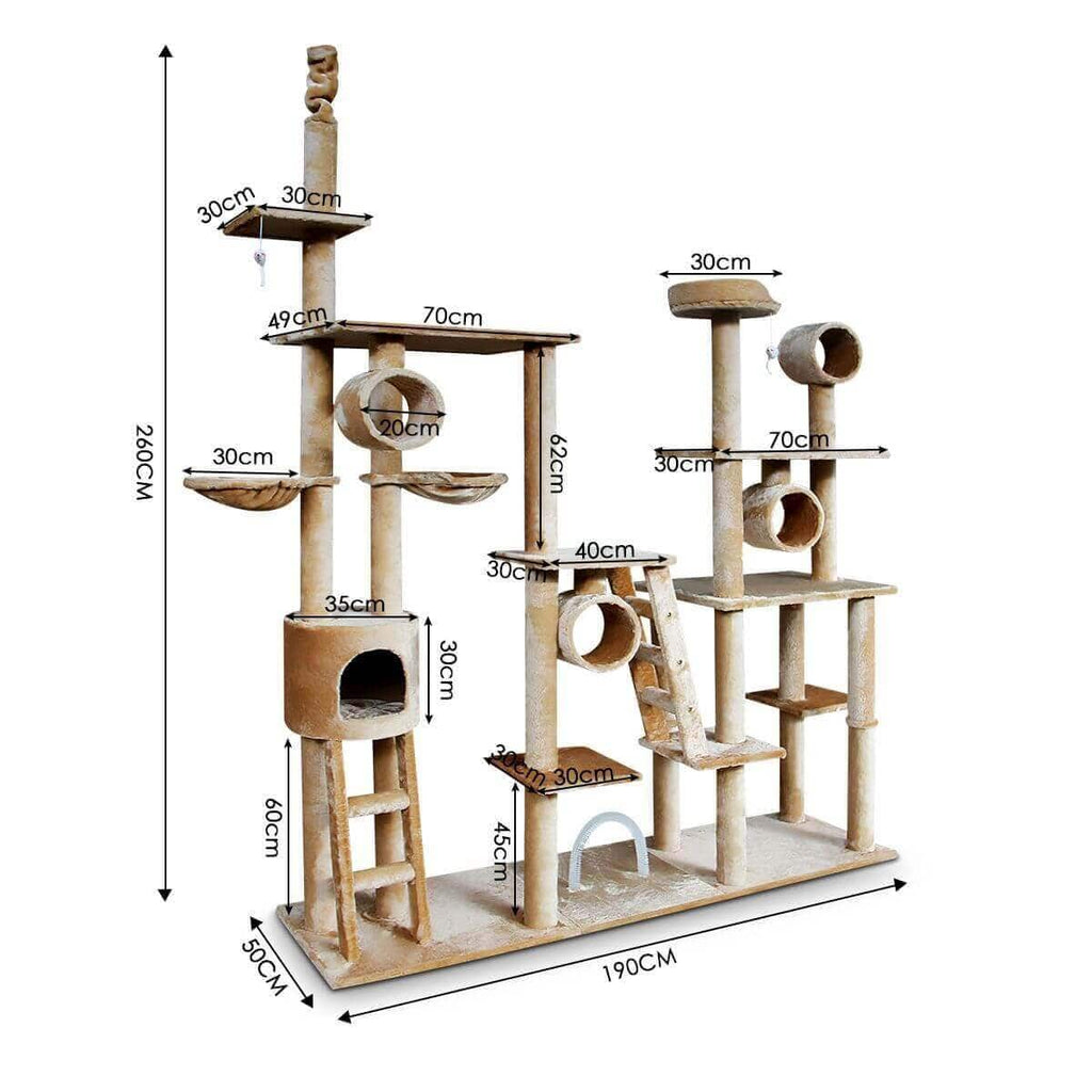 Multi Level Cat Gym Play Centre Tree 190 x 50 x 260cm Dimensions and Measurement